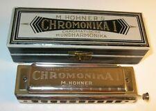 Antique German Harmonica Hohner Chromonika I in Box w/Tissue Instructions. In C