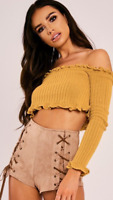Mustard Long Sleeved Knitted Bardot Off Shoulder Ribbed Ruffle Frill Top UK 6-14