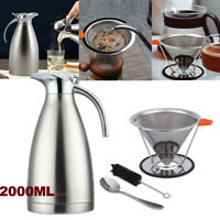 68Oz/2L Thermal Coffee Carafe Insulated Vacuum Stainless Steel Pot+Coffer Filter