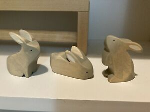 Brin D'ours Grey Bunny Rabbit Easter Waldorf Wooden Toy ostheimer holztiger