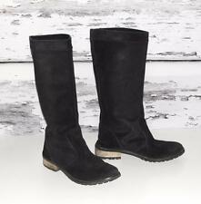 DIESEL~WOMEN'S~BLK~DISTRESSED~SUEDE LEATHER *PRAIRIE* MOTORCYCLE FLAT BOOTS~8.5