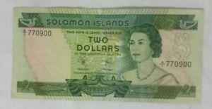 1977 SOLOMON ISLANDS $2 DOLLAR BANKNOTE p5a / GOOD CONDITION / A/1 First Prefix