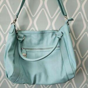 Steve Madden Tiffany Blue Faux Leather Large Tote Purse Handbag