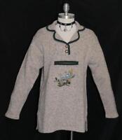 BROWN & WHITE ~ WOOL Cardigan Hunting German Winter SWEATER Jacket Top / 36 10 M