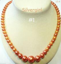 Vintage Imitation Pearl Gold Plated Gold/Champayne Beaded Necklaces RESTRUNG