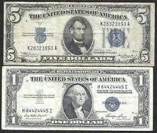1934A $5 BLUE! 1935E $1 **SILVER** 2 Notes! Old US Paper Money Currency!
