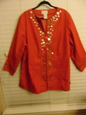VICTOR COSTA OCCASION STRETCH RED JACKET~BUTTON ACCENT~SIZE 1X