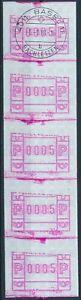"Postautomation CH (ATM): Typ 4 (SBK 4) ""senkr. 5er-Streifen"" v. Automat Basel 11"