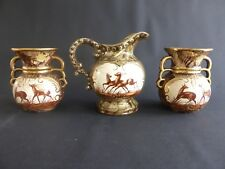 SET 3 PIECES 1 CRUCHE ET 2 VASES H. BEQUET QUAREGNON BELGE CERAMIQUE PEINT MAIN