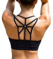 YIANNA Women's Padded Sports Bra Cross Back Medium Support, Black, Size Small 9j