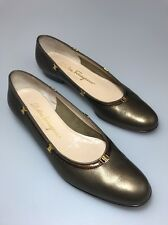 Salvatore Ferragamo Low Heel Slip On Shoes size 7.5 AAAA Bronze Leather Nicky