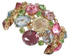 PHENOMINAL PASTEL OPEN BACK CRYSTAL BRACELET MASSIVE MULTI COLOR RUNWAY