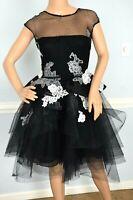 MONIQUE LHUILLIER Embroidered Floral Lace Tulle Cocktail Dress IT 38 40 / US 2 4