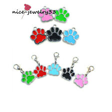 Colorful Dog Paw Print Dog Tags Dangle Hang Charms For Bracelet/Keyring/Necklace