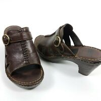 Born Women's Clogs Slip On Size 6M Mules Leather Buckle Brown Open Toe
