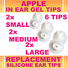 6 Silicone Replacement S M L Gel Tips for Apple In Ear Buds Earphone Headphone