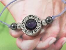 AM BYTH - forever friends Amethyst Gemstone & pewter beads handmade bracelet