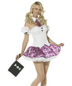 Ladies Schoolgirl Fancy Dress Costume Hat /& Stockings School Girl by Smiffys