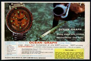 1969 O&J Ollech & Wajs Ocean Graph orange diving watch photo vintage print ad