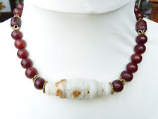 Red jade necklace, antique Chinese white stone Cong, carved red jade beads