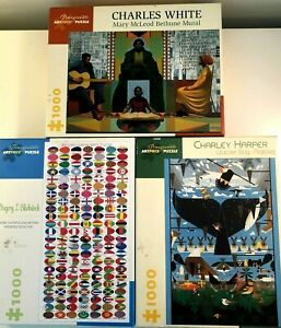 Lot of 3 1000 Piece Pomegranate Puzzles Charlie Harper Charles White Art Flags
