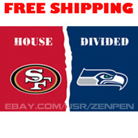 San Francisco 49ers vs Seattle Seahawks House Divided Flag Banner 3x5 ft 2019