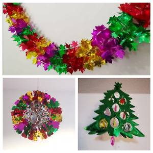 2.2m pullout Foil Christmas Hanging Ceiling Garland Chains decoration multicolor