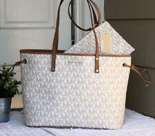 MICHAEL KORS 100% Vanilla & Brown Tote & Clutch Bag Drawstring MK Signature Logo