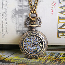 Pocket Watch Necklace Chain Sunflower 84cm Gift 1Pc Bronze Tone Round Quartz