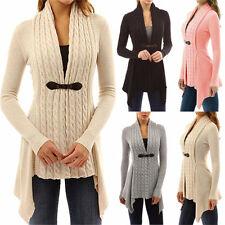 AU Women's Long Sleeve Knitted Sweater Jumper Ladies Knitwear Tops Cardigan Coat