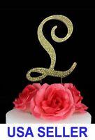 "Large Rhinestone Crystal Monogram ""L"" Wedding Cake Topper 5"" inch High Gold"