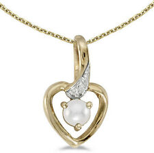 14k Yellow Gold Cultured Freshwater Pearl Diamond Heart Pendant (Chain NOT incl)