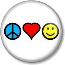 """Peace Love and Happiness 25mm 1"""" Pin Button Badge Hippie Pacifist Message Cute"""