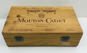 Vtg Mouton Cadet Baron Philippe De Rothschild Wood Wooden Wine Box Storage