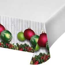 Christmas Ornaments Plastic Tablecover Border Print  54 x 102 in