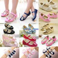 Toddler Kid Girls Bowknot Sandals Ballerina Pumps Shoes Wedding Bridesmaid Party