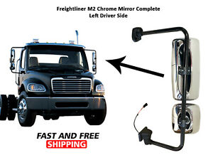 Freightliner Columbia M2 Mirror Chrome Complete Left Driver 2010 To 2019