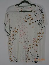 PER UNA White Bird Print Top Size 16