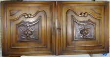 Antique French Large Pair of Carved Walnut Wood Doors/Panels Fruits