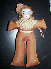 Antique Collectable Porcelain Doll Head Hat Pin Cushion Vintage Vanity Table