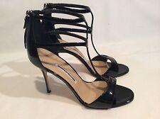 Manolo Blahnik Cellin Double T Strap Black Patent Leather Sandal Pump SZ 38