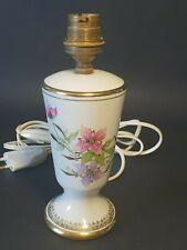💡  ancien pied lampe de chevet, bureau en porcelaine Danifac décor floral et or