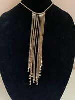 Kirks Folly Long Bib Gold Chain Necklace w/ Star & Crystal Charms