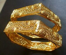 Indian 22K Gold Plated 2 Bangles Bracelets 6 Angles Sided Net Set 2.4'' Openable