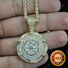 Men's Round 2 Ct Diamond Medallion Pendant Pave Charm 14k Yellow Gold Over