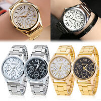 Geneva Fashion Men Women Crystal Stainless Steel Analog Quartz Gold Wrist Watch