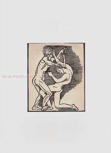 GERHARD MARCKS - FIGHTING MEN * rare print * mounted