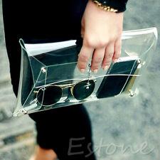 Fashion Clear Unisex Envelope Clutch PVC Vinyl Studded Transparent Bag Handbag