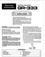 Pioneer GR-333 Stereo Graphic Equalizer Operating Instruction EQ USER MANUAL