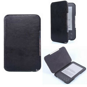 Black Slim Leather Protector Pouch Skin Case Cover For Amazon Kindle 3
